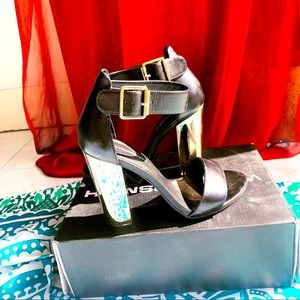 Windsor smith leather gold chrome heels